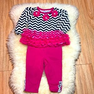 Black & White Chevron and Pink Tulle Outfit